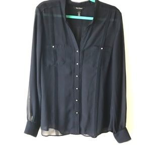 WHBM Navy Sheer Button Down Blouse size 16